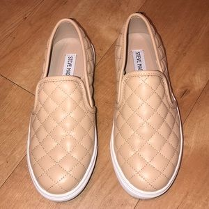Steve Madden Tan Quilted Leather Slip-On's